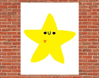Cute Happy Smiling Star Poster Print Wall Decor