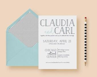 Modern Minimal Simple Wedding Invitation - Typography Wedding Invite Template - Typography, Printable or Printed - FREE SHIPPING