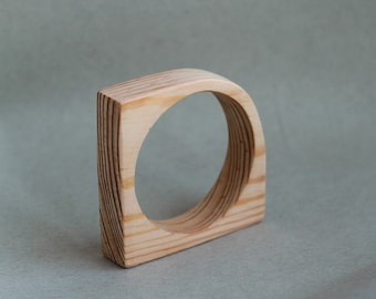 20 mm Wooden bangle unfinished corner - natural eco friendly IL20