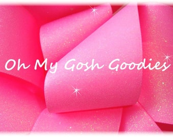 "GLITTER HOT PINK Cheer Grosgrain Ribbon Hairbow Supplies - 3"" Width 5 Yards - Oh My Gosh Goodies"