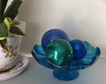 Vintage Teal cupcake stand or candy dish