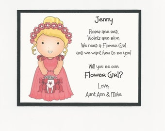 BLONDE Jenny - Will you be my Flower Girl Flat card - Personalized custom