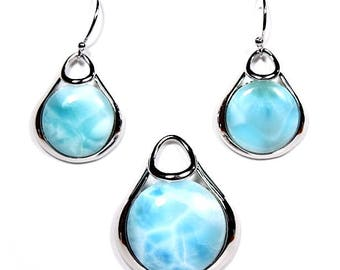 Authentic Larimar On 925 Sterling Silver Necklace Pendant & Earrings Set. Free 18'' silver chain. OP88-14