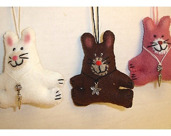 Rabbit Ornament/ Made of Felt/ Handmade/Single OR Set(s)/MADE to Order**
