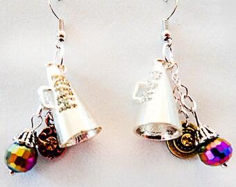 CHEERLEADER EARRINGS, megaphone earrings, cheerleader jewelry, megaphone jewelry, sport earring, sport jewelry, charm earring, charm - 0924S