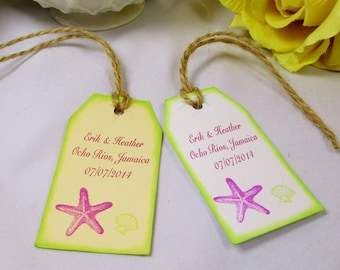 10 Starfish Favor Tag - Seashell Welcome Wedding Gift Tag - Welcome Bag Tag - Beach Wedding Thank You Tag - Destination Wedding Name Tag