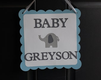 Elephant Door Sign, Elephant Welcome Sign, Elephant Baby Shower, Elephant Party, Pastel Blue, Grey