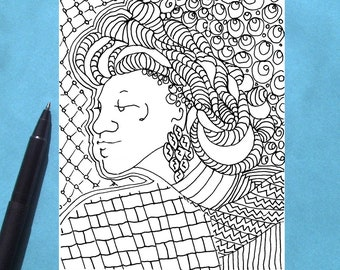 Printable Coloring Card, Adult Colouring Card, African Woman in Headwrap Card, All Occasion Coloring Card, Instant Digital Download