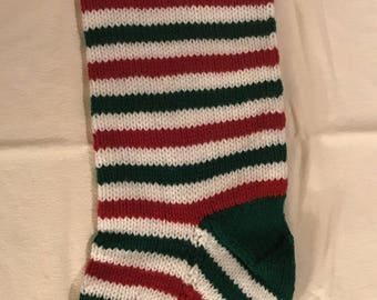 Customized Christmas Stocking - Green, White and Red with Red and Green trim