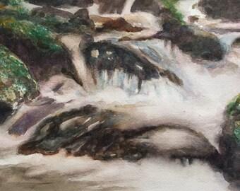 River run - original watercolor painting