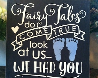 """Wood sign Fairy Tales Do Come True boy 12"""" x 12"""""""