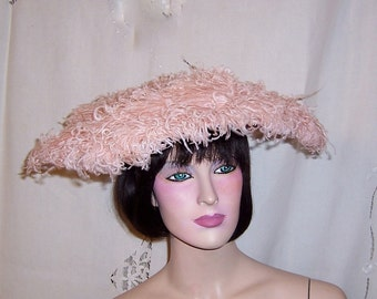 """1950's Saucer -Shaped Hat with Pink Ostrich Feathers by """"Lora"""""""