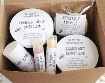 All Natural Spa Gift Set For Her - Body Butter Lotion Lip Balms Bath Melts Bath and Beauty Products