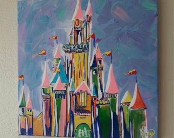 Abstract Disney's Castle Original Painting**FREE SHIPPING **(to U.S. buyers)
