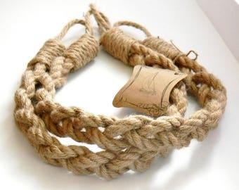 Set of 2 pcs - Jute Rope Curtain Tiebacks-Chunky Braided-Pigtail of three ropes