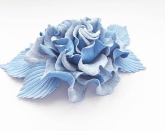 Genuine leather Blue Rose The Snow Queen flower brooch Hair clip barrette denim Handmade accessories, Women Lady Handmade Jewelry, gift