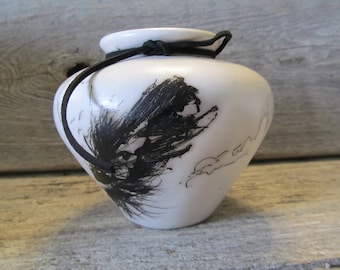 Horse Hair Pottery, Durango Vase with Feather,#2- Ready to Ship