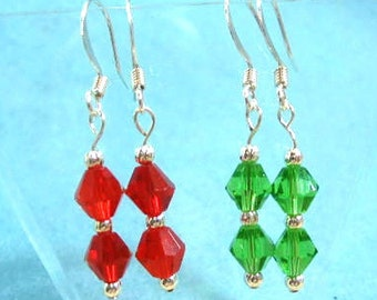 Set of Red Earrings and Green Earrings, Crystal Dangle Earrings, Set of 2 Pairs, Christmas Jewelry, Silver Bead Jewelry, Handmade