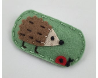 Design Seen In  Pregnancy & Newborn Magazine Hedgehog, Felt Hair Clip, No Slip, Hedgehog, Mint Green, Girls Hair Clip, Toddler Hair Clip