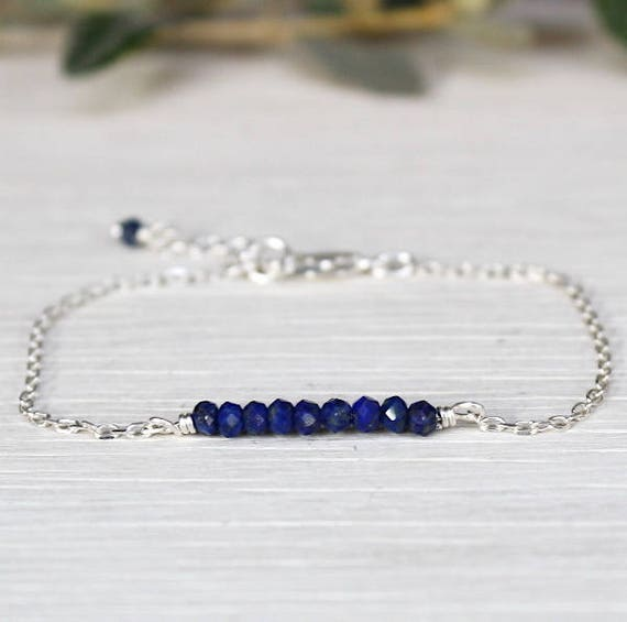 Bracelet chain Silver 925 and lapis lazuli gemstones faceted