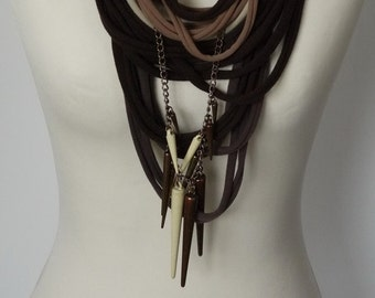 Upcycled t-shirt scarf: Browns with effective pendant [715]