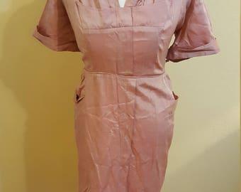 Vintage 50s dusky pink dress size xl