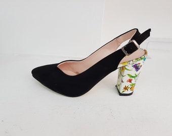 black floral heels white heels High heels Pumps Heels women Wedding shoes pink Floral Handmade heels Womens high heels  Women shoes