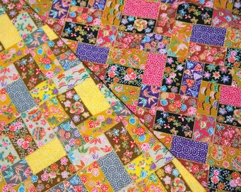 Kimono print Japanese fabric Half meter 50 cm by 106 cm or 19.6 by 42 inches Two colors to choose