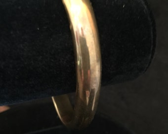 Solid Brass Vintage Cuff Bracelet Stamped thick rounded edge