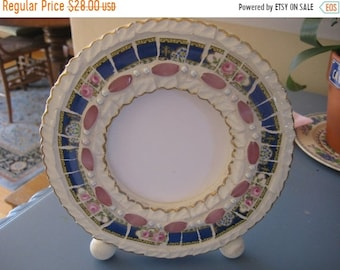APRIL SALE Pretty Vintage China Mosaic Frame- Blue Vintage China with Pink Roses & Dainty Blue flowers - Broken China Mosaics