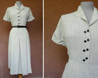 1930's Grey Rayon Day Dress - 30's Grey Short sleeves Dress - Size M/L