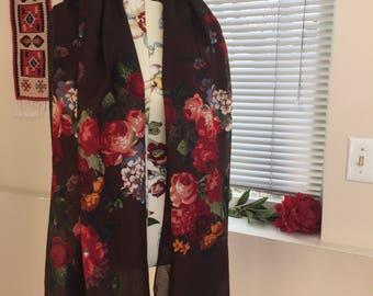 Large thin rayon scarf wrap floral design