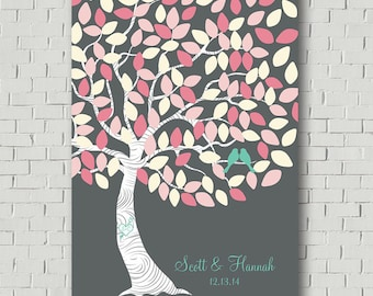 Wedding Guest Book Alternative, Wedding Tree Signs Guest Book Sign In, Pink Wedding Gift for Bride Guest Book Tree, Bridal Shower Gift Ideas