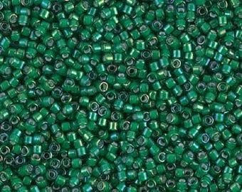 DB1788 MIYUKI Delica 11/0 White lined Emerald AB