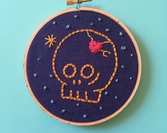 Skull Embroidery Hoop Art