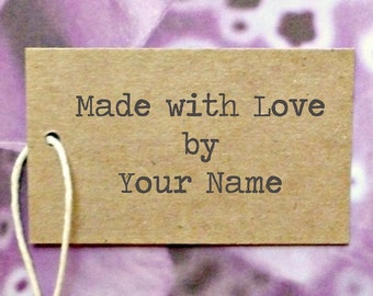 """Custom Kraft """"Made With Love"""" tags 1.5""""x 2.5"""" w twine ties . personalized clothing pricing, gift, or product tags . Etsy seller supplies"""