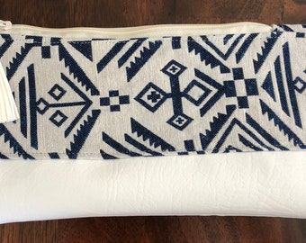 Blue & White Tribal Clutch with Faux Leather