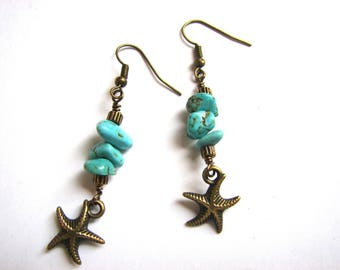 Starfish Earrings in Brass and Turquoise, Bohemian Beach Earrings, Starfishl Jewelry for Women