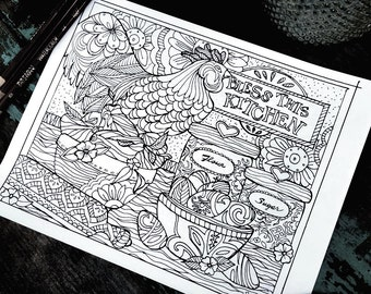Bless This Kitchen Adult Coloring Page -Rooster/Kitchen-Lisa Kaus