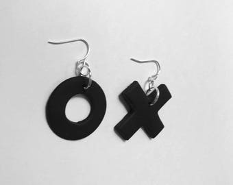 Simple Black Naughts and Crosses Earrings