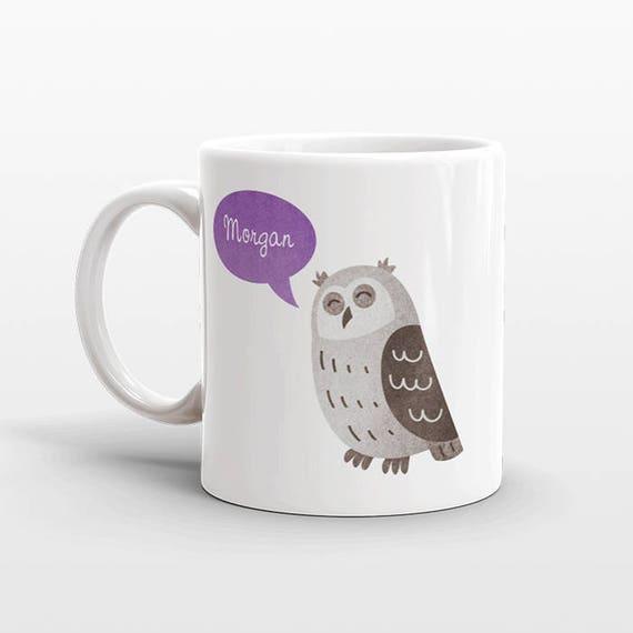 Custom Name Mug, Owl Mug, Personalized Mug, Unique Coffee Mug, Office Mug, Best Friend Gift, Birthday Gift, Cute Animal Lover Gift