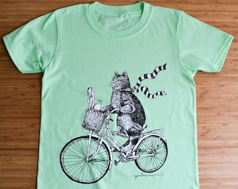 Kids Cat Tee 'Pascal The Cat' Original Screen-Printed Cat on a Bicycle Illustration Mint Green Kids T-Shirt