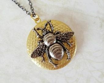 Large bee locket, brass locket, gold bee locket, huge pendant, silver bee locket, bumble bee locket, bee pendant locket, gift for her
