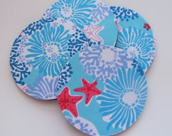 Fabric Coasters Star Sighting made with Lilly Pulitzer Fabric