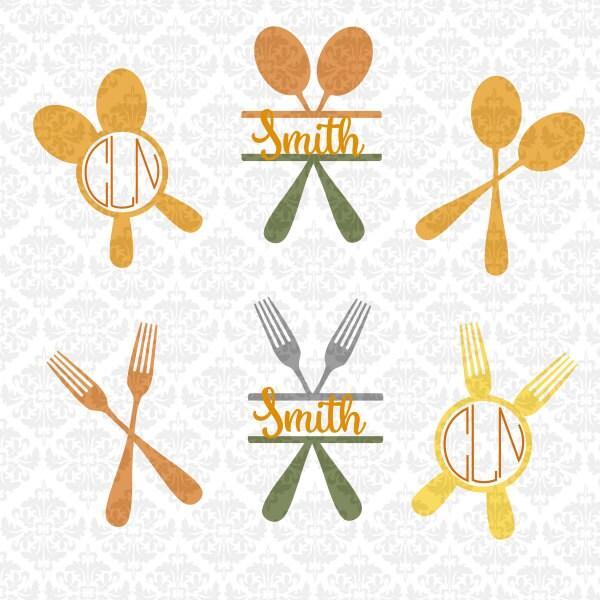 kitchen utensils fork spoon whisk chef monogram split svg
