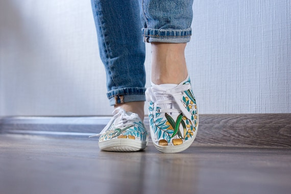 floral Hand Shoes ornament Women with sneakers painted Garden white Canvas Golden xwwt0n64q7