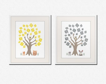 Baby nursery art print. ABC nursery decor. Alphabet print, woodland owl art print with numbers, Childrens art by WallFry. SET OF 2 prints