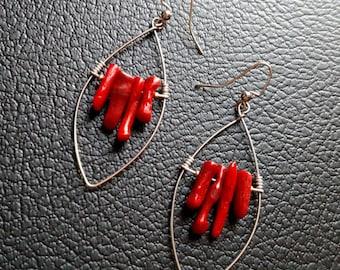 Red Coral and Silver Hoop Earrings