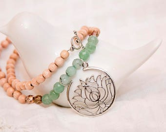 Silver lotus necklace, lotus charm, flower necklace, agate jewelry, agate stone, lotus charm, wood bead jewelry, boho jewelry, silver lotus