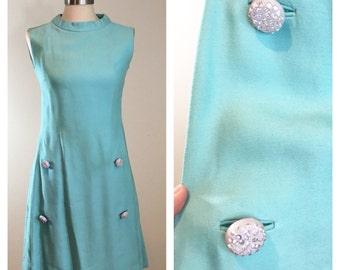 60s Turquoise Sleeveless Cocktail Dress or Shift Dress with Large Rhinestone Buttons, AS-IS, Costume or Pattern, Size XS to Small